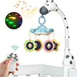 TUMAMA Remote Control Baby Crib Mobiles with Projection Lighting and Music for Boys and Girls,Volume Up or Down,Auto-Sleep an