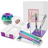 Clear Acrylic Rainbow Desktop Supplies Office Stationery Set Tape Dispenser, Memo Holder, Magnetic Paper Clips Holder, Staple
