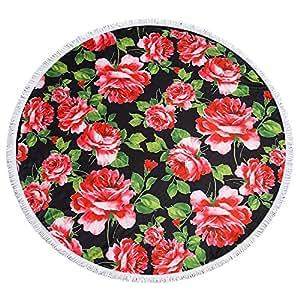 ビーチタオル バスタオル Bonice ラウンド ビーチタオル ビーチブランケット サークルタオル マント ストール 日焼け止めタオル かわいい おしゃれ 復古 薄い 多用途 タッセル付き 円形 海水浴 旅行 温泉など 多機能使用 -薔薇の花
