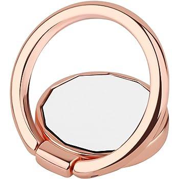 1e97de442e スマホリング ホールドリング ミラー 鏡 かわいい コンパクト 薄型 スリム フラット スタンド機能 落下防止 iPhone/Android各種他対応  (ローズゴールド)