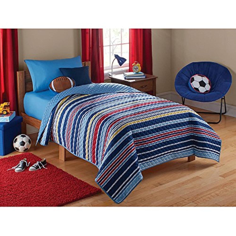 [メインステイキッズ]Mainstays Kids Super Soft, Easy Care, Reversible Stripe Quilt Blue Twin/Full 72 x 86 B01IEEOZJ0 [並行輸入品]
