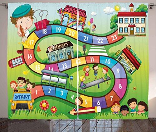 """ボードゲームカーテンby Ambesonne、子供学校onバスPlaying In Garden教育ゲームライブラリおもちゃアイコン印刷、リビングルームベッドルームウィンドウドレープ2パネルセット、マルチカラー 108"""" W By 108"""" L p_39193_108x108"""