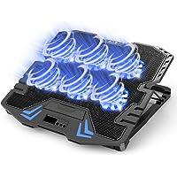 『2020最新進化型・強冷超静音冷却ファン』ノートパソコン冷却パッド 冷却台 6つ冷却ファン搭載 5段階高度調整可 風量調節可 ノートPCクーラー 大風量・低騒音 2つUSBポート付 メタルメッシュデザイン 滑り止め付き ledストリップライト付 9-17インチまでのノートPC/iPad/Macbook/Macbook Pro/PS3/PS4等に対応 オフィス/在宅勤務/出張などに適用 日本語取扱書付 ブラック