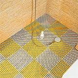 QD-SGMP お風呂マット 滑り止め バスマット 防カビ 浴室マット すのこ 洗い場マット 浴槽マット 大判 転倒防止 介護用 16枚(ホウイト+イエロー)