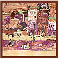 KTYX Large Square Oil Painting House Satin Printed Silk Scarf 90 * 90cm Scarf (Color : Brown, Size : 90 * 90CM)
