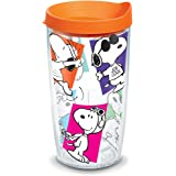 Tervis 1300503 Peanuts - Multi-Snoopy Insulated Tumbler with Wrap and Orange Lid, 16 oz, Clear