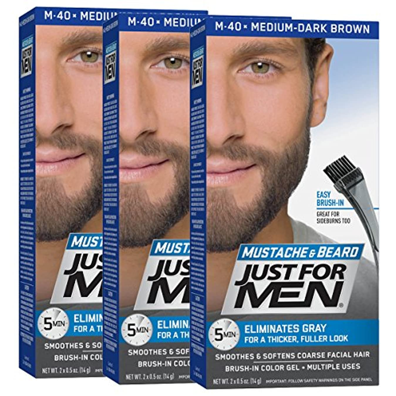 下に酸度ペンスJust for Men 口ひげ&髭ブラシ-のカラージェル、ミディアム?ダークブラウン(3パック、パッケージングは??変更になる場合があります) 3 05ミディアム、ダークブラウン