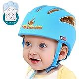 IULONEE ベビー ヘルメット 頭 保護 幼児用 スポンジ 守る ケガ 防止 赤ちゃん 安全ヘッドガード 衝撃吸収 ソフト 可愛い 洗える 綿100% 軽量 サイズ調整可能 手袋1枚 (ブルー)