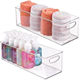 mDesign Storage Bins with Built-in Handles for Organizing Hand Soaps, Body Wash, Shampoos, Lotion, Conditioners, Hand Towels,
