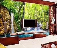 Weaeo カスタム壁画写真3D壁紙画像壁の3Dの3D壁壁画の壁紙をHdの滝の風光明媚な森の部屋のインテリアの絵画-400X280Cm