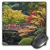 3drose LLC 8x 8x 0.25インチマウスパッド、オレゴン州ポートランド木製ブリッジJapanese Garden Jaynesギャラリー( MP _ 93669_ 1)