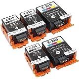 215 Ink Cartridges Compatible for WF-100 Printer,5 Packs(3 Black, 2 Tri-Color, with Pigment Ink)