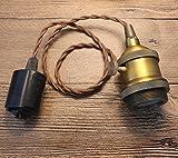 FSLIVING レトロ 1灯ペンダント スイッチ付き 古アンティーク紐 真鍮メッキ古仕上げ ...