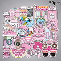 XuBa 防水ステッカー かわいいアニメ 女の子シリーズステッカー車のバックパックホームデコレーションのための 50pcs ピンク