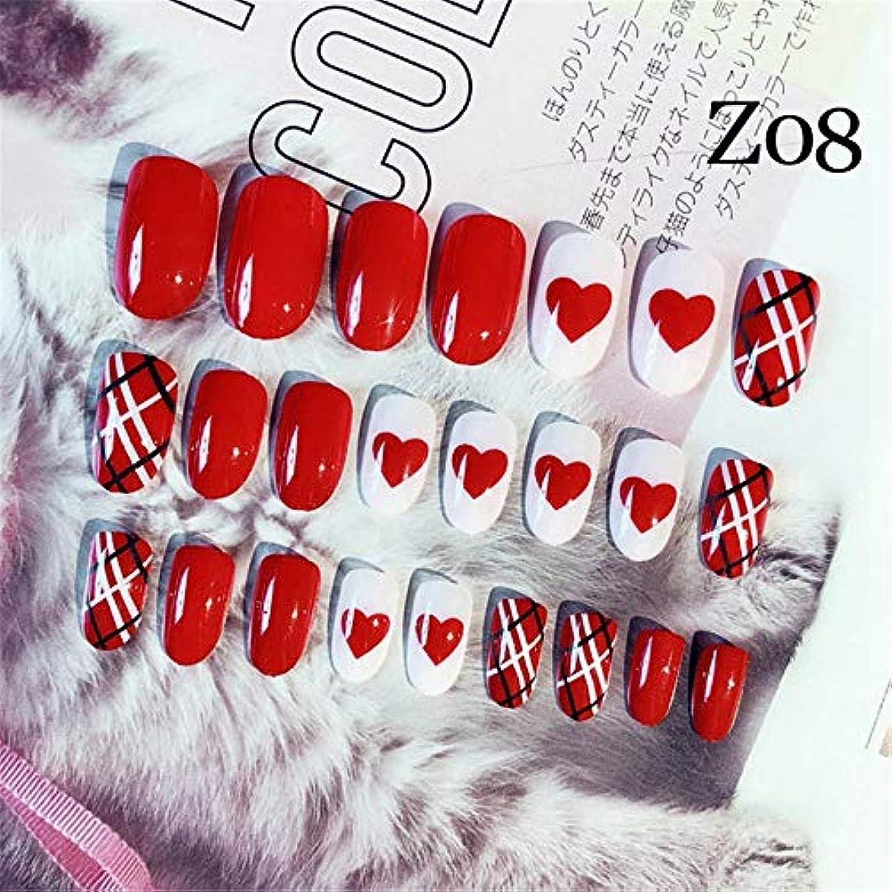 リベラル音楽家メロドラマXUTXZKA 24ピース/セットファッションマットアート偽ネイルショートラウンドフェイクネイル爪エクステンションツールネイルアートアクセサリー