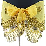 ベリーダンス衣装 BC3940 レッスン用シフォンヒップスカーフ 金コイン イエロー
