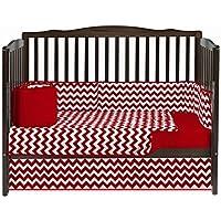 Baby Doll Bedding Chevron 8 Piece Crib Set with Bumper Pad Red [並行輸入品]