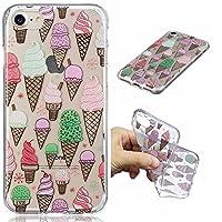 Ooboom iPhone 7 ケース 透明 専用 マット TPU シリコーン 柔らかい 耐衝撃 薄型 軽量 保護カバー - アイスクリーム