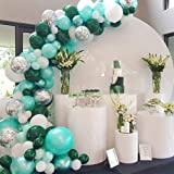GIHOO 100pcs Balloon Garland Kit Green Metallic Chrome Balloon, Silver Confetti Balloon, White Balloon, Dark Green Balloon, 1