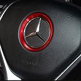 [NextBlue] メルセデス ベンツ Mercedes Benz 専用 アルミ ハンドル センター リング ステアリング ベゼル (レッド)