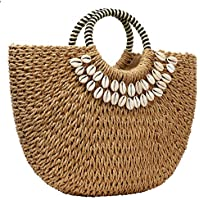 Womens Straw Tote Bag Handbags Classic Top Handle Bag Summer Retro Chic Straw Woven Bags for Beach Travel Daily Use