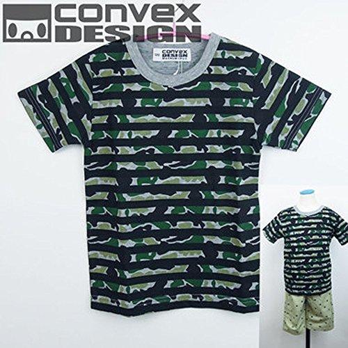 CONVEX(コンベックス) 総柄[迷彩:グレー×グリーン]_半袖Tシャツ (100-140cm/グ...