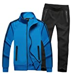 fanmeili-AU Men's Sweatsuit Gym Stand Collar Large Size Pants Outwear Tracksuit Set