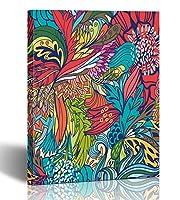 emvency絵画壁アートキャンバス印刷正方形12x 12インチマジックの抽象花と羽Endlessエスニック夏パターンFills装飾木製フレーム 12x16 ゴールド
