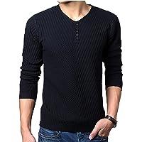 [ ゾン スマイズ ] ニット セーター v ブイ ネック 無地 長袖 トップス シャツ 風 ボタン カットソー メンズ