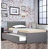 Istyle Selina King Single Trundle Storage Bed Frame Fabric Grey