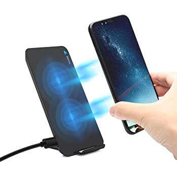 Qiワイヤレス充電器 Baseus ワイヤレスチャージャー 急速 Quick Charge 2.0 二つのコイル 2in1 折り畳み式 置くだけ充電可 USBケーブル付き iPhone X 8 8 Plus Galaxy S8 S8 Plus Nexus など対応 Qi 充電器 スマホ スタンド機能(ブラック)