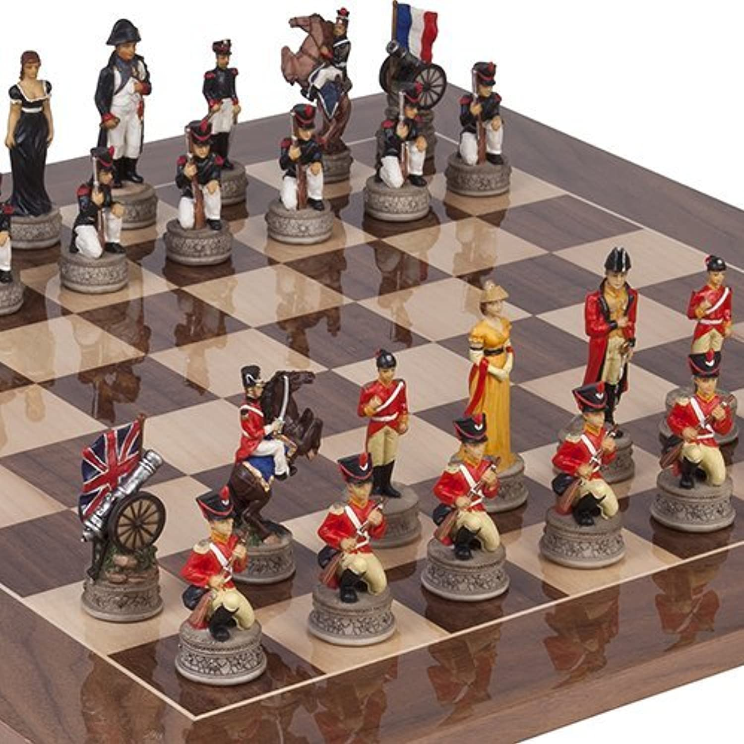 Hand Painted Napoleon & The Duke of Wellington Chessmen & Columbus Avenue Chess Board from Spain by