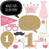 1st Birthday Girl - Fun to be One - Photo Booth Props Kit - 20 Count