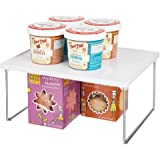 mDesign Decorative Plastic/Metal Storage Shelf - 2 Tier Raised Food and Kitchen Organizer for Cabinets, Pantry Shelves, Count