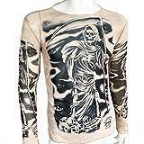 スピナス ハロウィン メンズ ドクロ 死神 タトゥー 長袖 Tシャツ 刺青 肉襦袢 5種類