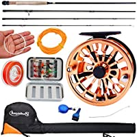 (Fly Fishing Full Kit 5-6 -Orange) - Sougayilang Fly Fishing Rod Reel Combos with Lightweight Portable Fly Rod and CNC-machined Aluminium Alloy Fly Reel,Fly Fishing Complete Starter Package