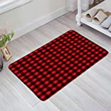 Z&L Home Red Black Buffalo Check Plaid Pattern Doormat Home Bathroom Bedroom Mat Toilet Kitchen Floor Decor Rug Non Slip Mat