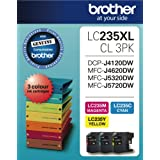 BROTHER Genuine LC-235XL High-Yield Colour Ink Cartridge Value Pack, Three Pack, Includes 1 Cartridge Each of Cyan, Magenta &