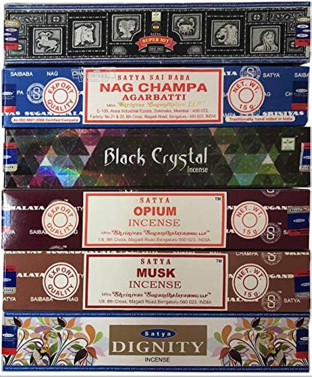 貸し手観光洋服Nag Champa 6ピース バラエティーパック ナグチャンプ スーパーヒット ブラッククリスタル オピウム ムスク ディグニティ