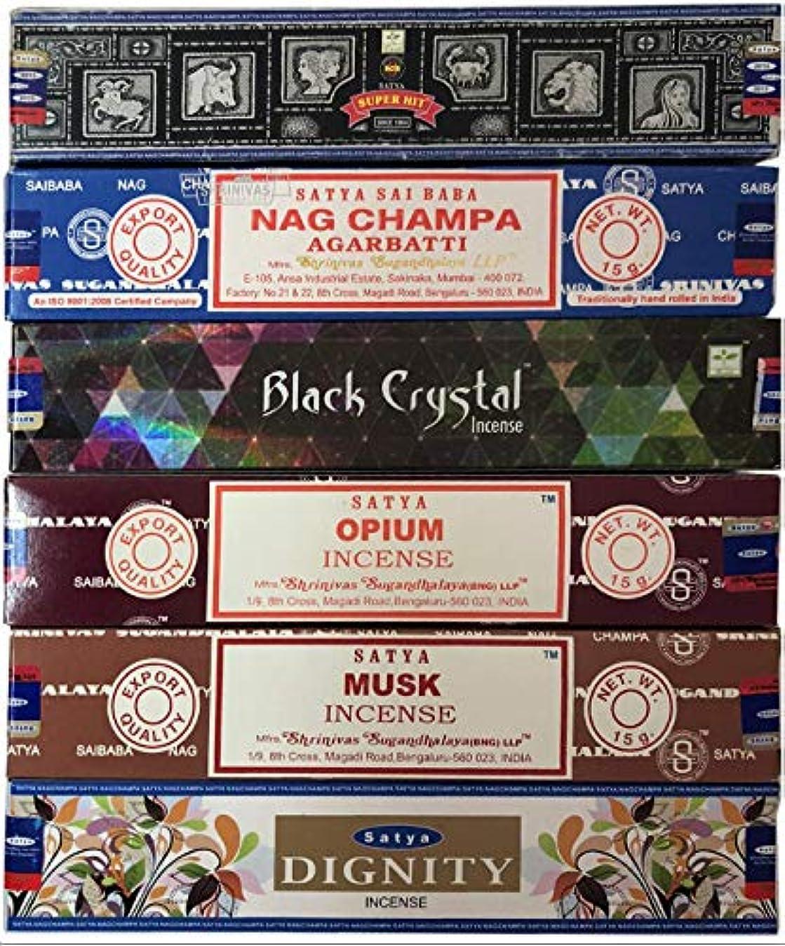 グレード仲良し星Nag Champa 6ピース バラエティーパック ナグチャンプ スーパーヒット ブラッククリスタル オピウム ムスク ディグニティ