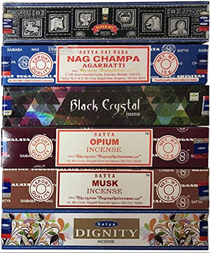 吸う薬がんばり続けるNag Champa 6ピース バラエティーパック ナグチャンプ スーパーヒット ブラッククリスタル オピウム ムスク ディグニティ