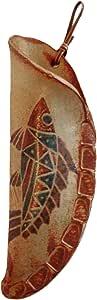 クラフ陶スタジオK's フラワーベース 茶 小 魚紋