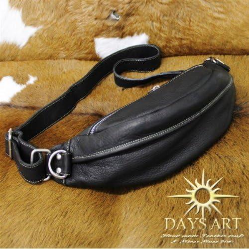 Days Art(デイズアート)牛革 カーフスキン レザービーズ型ボディバッグ ワンショルダー 斜め掛けショルダーバッグ ブラック