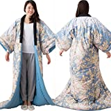 エムール あったか かいまき布団 約135×185cm 日本製 花柄ブルー