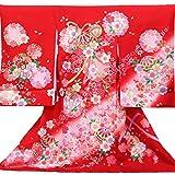 【お宮参り着物】【赤地系 毬にリボンと花柄】女の子 友禅 金駒刺繍 正絹【風呂敷プレゼント / ギフト対応】