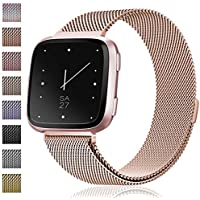 Maledan for Fitbit Versa Bands, Stainless Steel Milanese Loop Metal Mesh Bracelet with Magnet Lock, Replacement Wristbands for Fitbit Versa Fitness Smartwatch, Large Small, Women Men