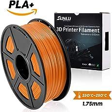 SUNLU 3DプリンタフィラメントPLA Plus、1.75mm PLAフィラメント、3Dフィラメント低臭気、寸法精度+/- 0.02mm、3Dプリンタおよび3Dペン用LBS(1KG)スプール3Dフィラメント、(Orange)