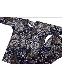 【金彩牡丹と桜?藍黒】 義若オリジナルの鯉口シャツ単品 男女兼用 (S 小サイズ)
