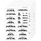 BLXCBLSY Farmhouse Pantry Labels 6 Sheets Transparent Waterproof Pantry Stickers Food Jar Labels for Pantry Organization