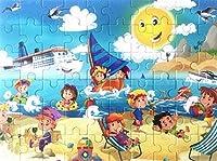 ジグソーパズルゲーム幼児玩具 創造的な木製の絵のパズルアーリーラーニングおもちゃ子供のための素晴らしいギフト(ビーチ)